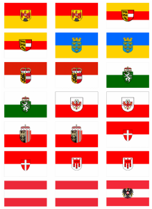 All 9 Austrian States' Flag Stickers - 21 per sheet